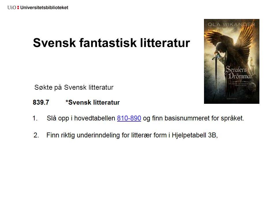 Svensk fantastisk litteratur Søkte på Svensk litteratur