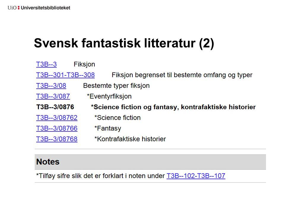 Svensk fantastisk litteratur (2)