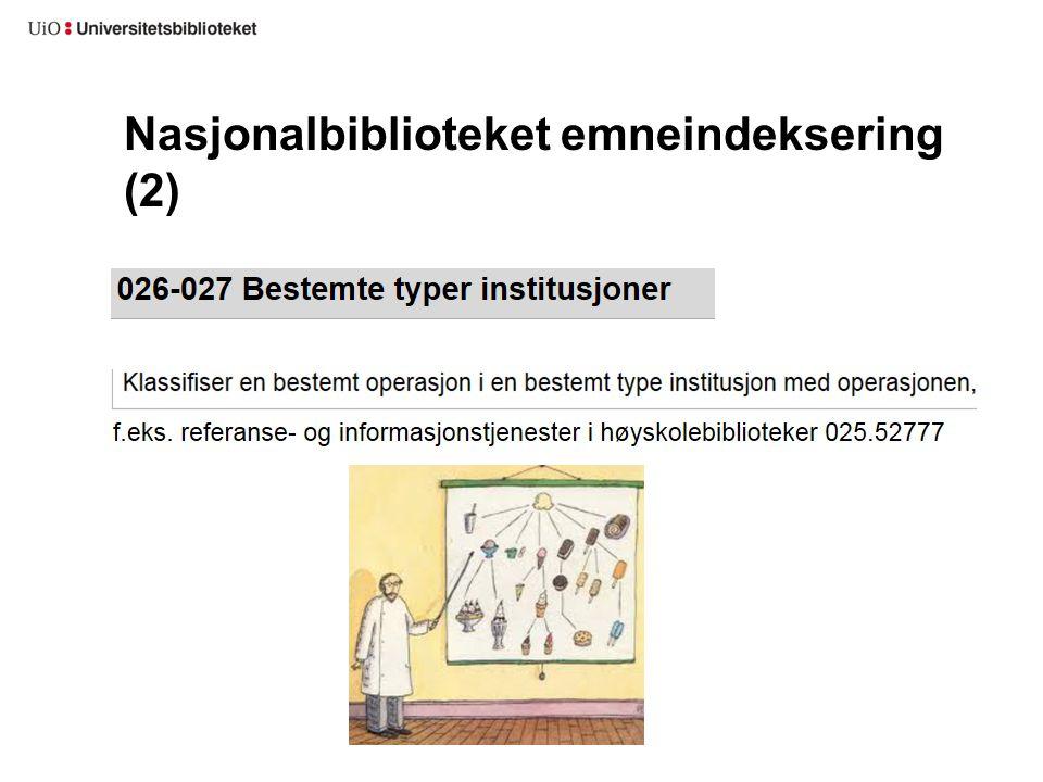 Nasjonalbiblioteket emneindeksering (2)