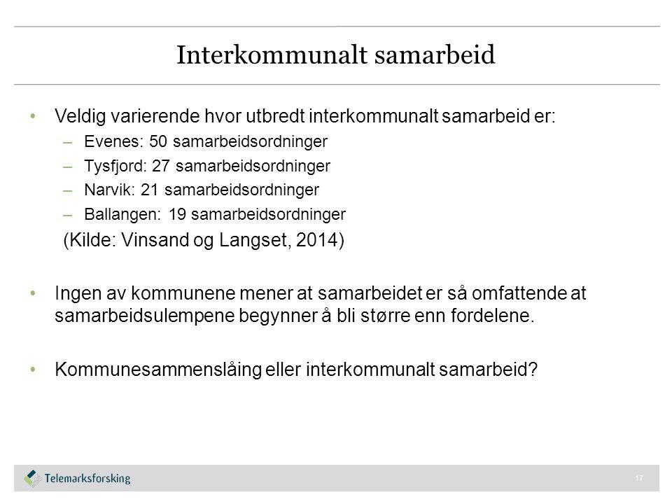 Interkommunalt samarbeid Veldig varierende hvor utbredt interkommunalt samarbeid er: –Evenes: 50 samarbeidsordninger –Tysfjord: 27 samarbeidsordninger
