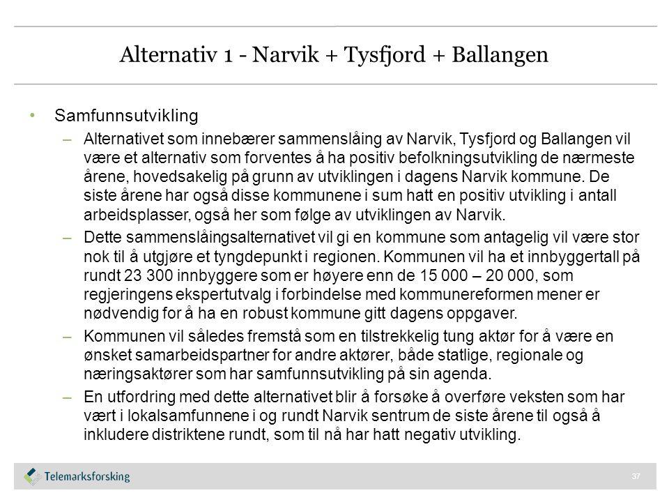 Alternativ 1 - Narvik + Tysfjord + Ballangen Samfunnsutvikling –Alternativet som innebærer sammenslåing av Narvik, Tysfjord og Ballangen vil være et a