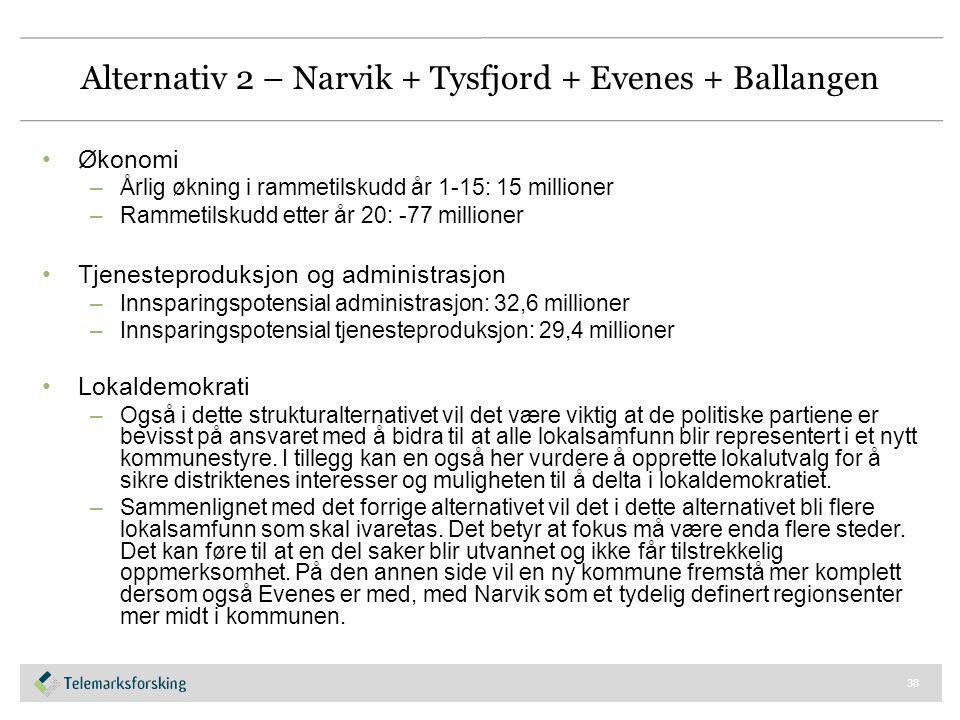 Alternativ 2 – Narvik + Tysfjord + Evenes + Ballangen Økonomi –Årlig økning i rammetilskudd år 1-15: 15 millioner –Rammetilskudd etter år 20: -77 mill