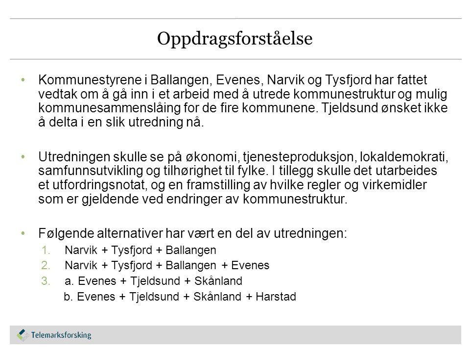 Oppdragsforståelse Kommunestyrene i Ballangen, Evenes, Narvik og Tysfjord har fattet vedtak om å gå inn i et arbeid med å utrede kommunestruktur og mu