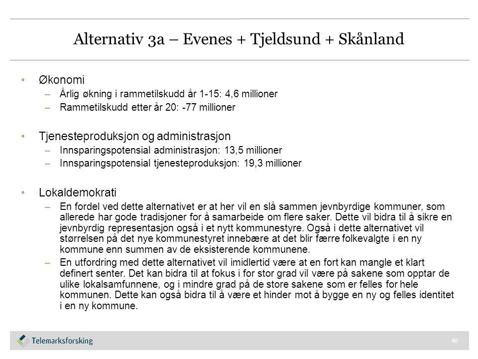 Alternativ 3a – Evenes + Tjeldsund + Skånland Økonomi –Årlig økning i rammetilskudd år 1-15: 4,6 millioner –Rammetilskudd etter år 20: -77 millioner T