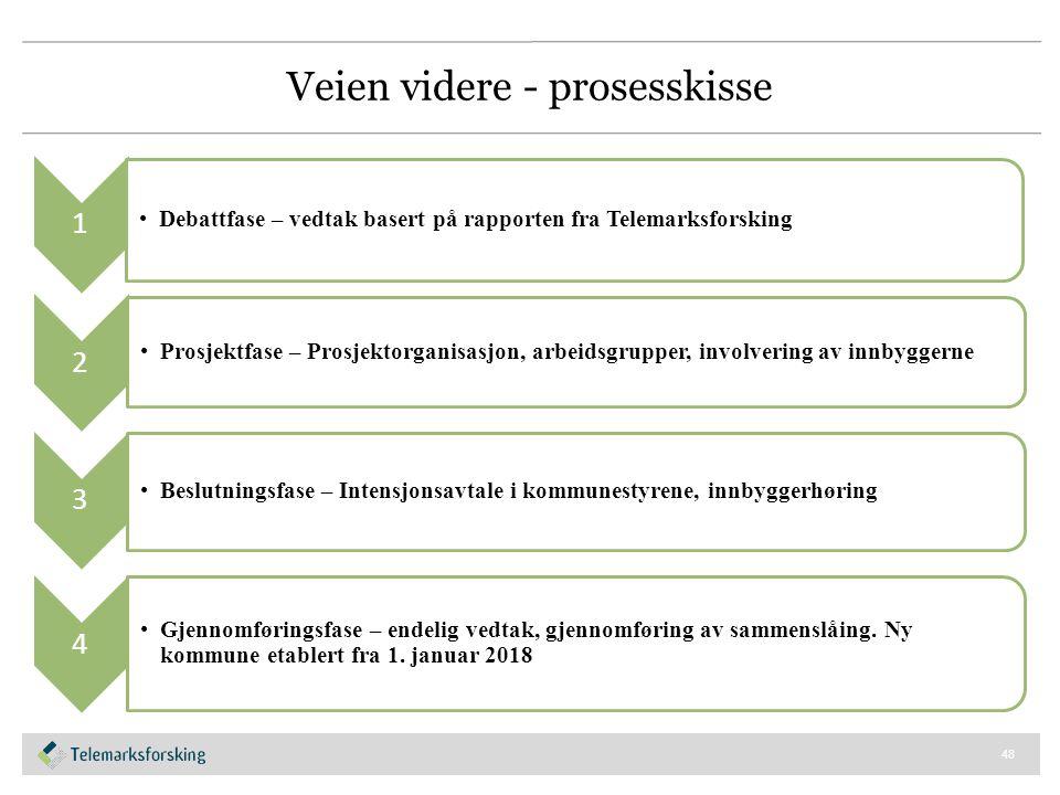 Veien videre - prosesskisse 48 1 Debattfase – vedtak basert på rapporten fra Telemarksforsking 2 Prosjektfase – Prosjektorganisasjon, arbeidsgrupper,