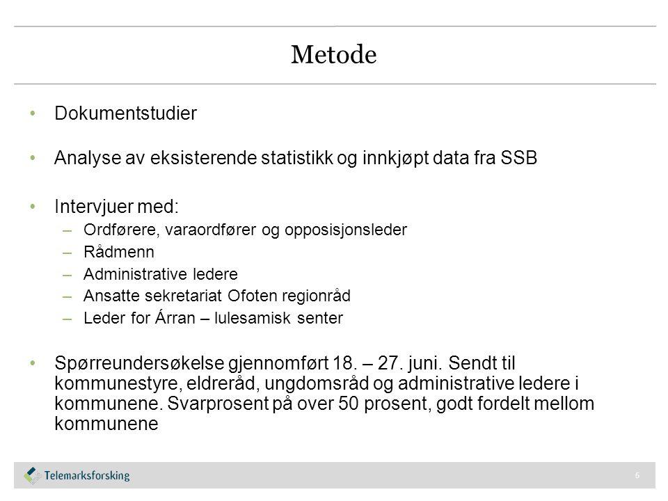 Metode Dokumentstudier Analyse av eksisterende statistikk og innkjøpt data fra SSB Intervjuer med: –Ordførere, varaordfører og opposisjonsleder –Rådme