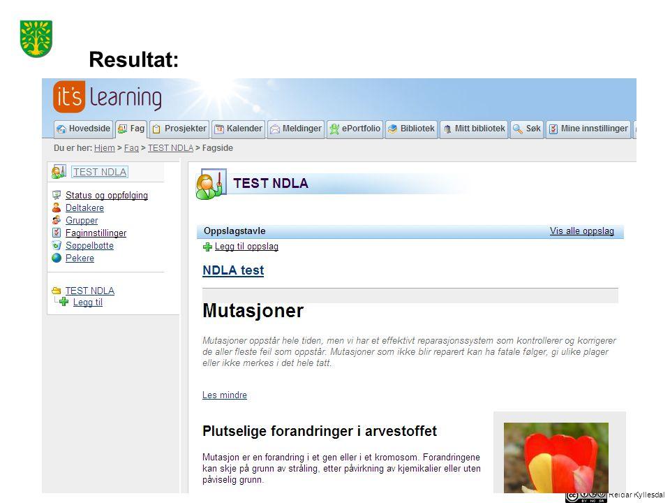 Reidar Kyllesdal Nederst på siden i it's learning ligger en lenke som går direkte til tilsvarende side på ndla.no