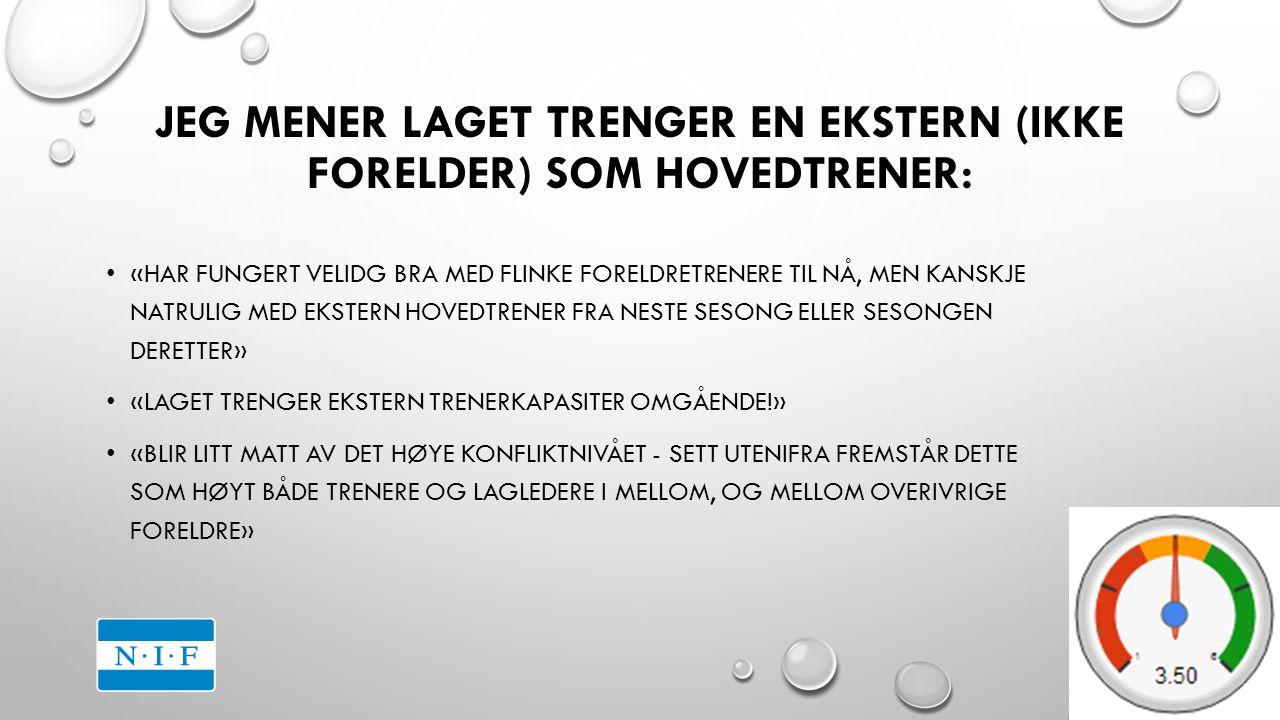 JEG MENER LAGET TRENGER EN EKSTERN (IKKE FORELDER) SOM HOVEDTRENER: «HAR FUNGERT VELIDG BRA MED FLINKE FORELDRETRENERE TIL NÅ, MEN KANSKJE NATRULIG MED EKSTERN HOVEDTRENER FRA NESTE SESONG ELLER SESONGEN DERETTER» «LAGET TRENGER EKSTERN TRENERKAPASITER OMGÅENDE!» «BLIR LITT MATT AV DET HØYE KONFLIKTNIVÅET - SETT UTENIFRA FREMSTÅR DETTE SOM HØYT BÅDE TRENERE OG LAGLEDERE I MELLOM, OG MELLOM OVERIVRIGE FORELDRE»