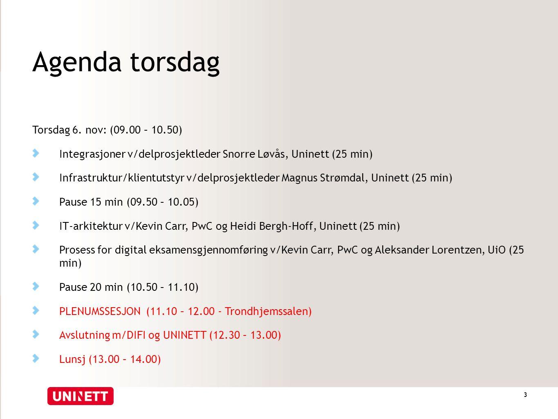 Agenda torsdag 3 Torsdag 6. nov: (09.00 – 10.50) Integrasjoner v/delprosjektleder Snorre Løvås, Uninett (25 min) Infrastruktur/klientutstyr v/delprosj