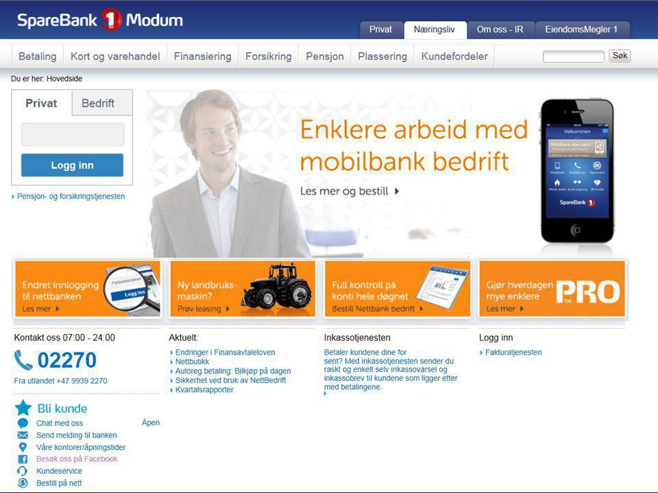 Bankens hjemmeside - Her finner du mye nyttig informasjon! Modum næringsråd - Oktober 2014