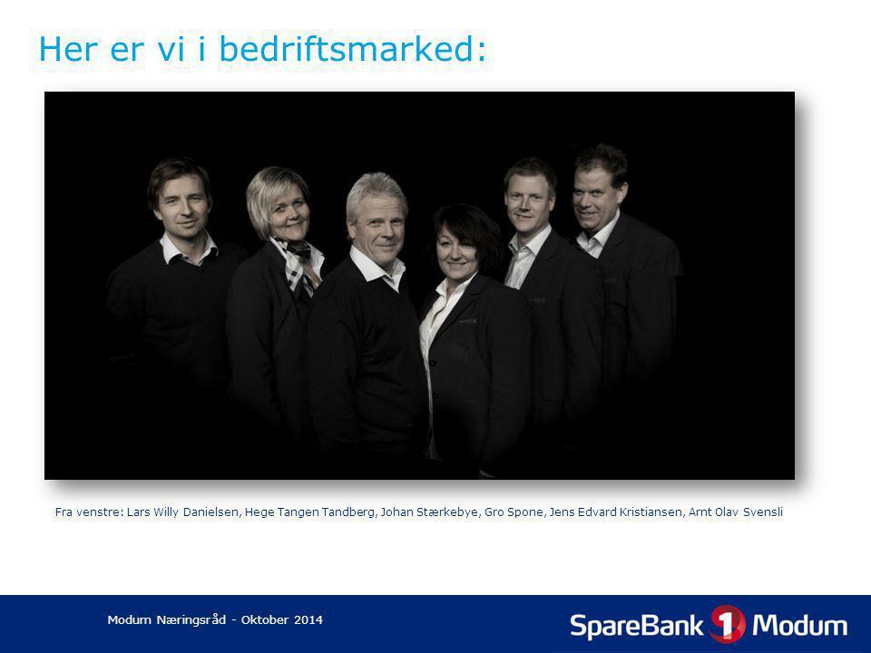 Her er vi i bedriftsmarked: Fra venstre: Lars Willy Danielsen, Hege Tangen Tandberg, Johan Stærkebye, Gro Spone, Jens Edvard Kristiansen, Arnt Olav Sv