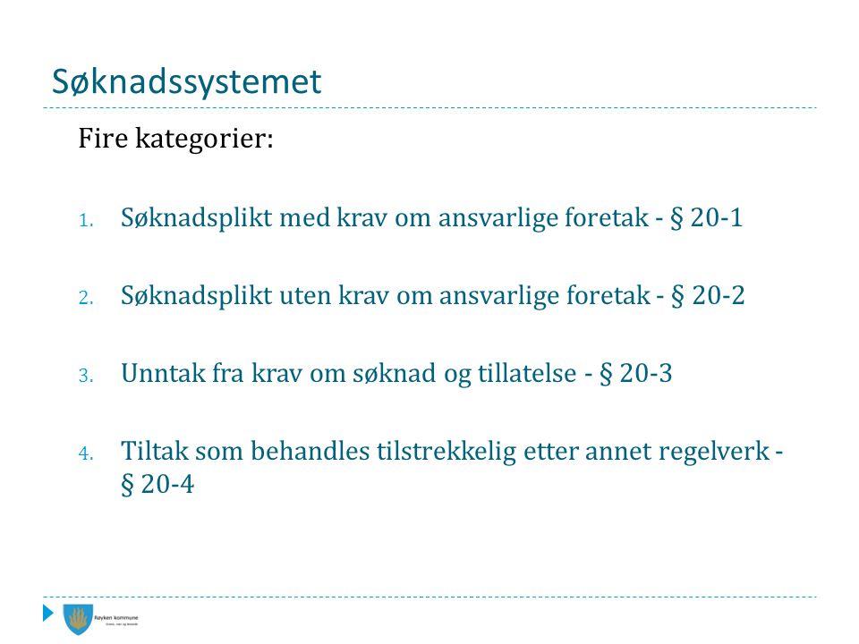 Søknadssystemet Fire kategorier: 1. Søknadsplikt med krav om ansvarlige foretak - § 20-1 2.