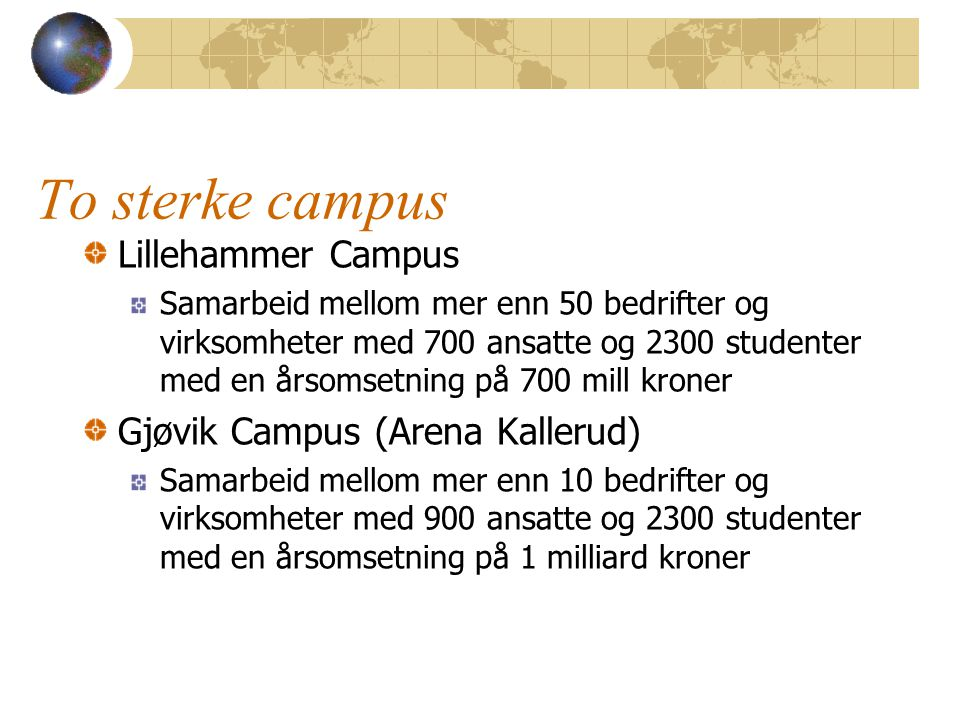 To sterke campus Lillehammer Campus Samarbeid mellom mer enn 50 bedrifter og virksomheter med 700 ansatte og 2300 studenter med en årsomsetning på 700