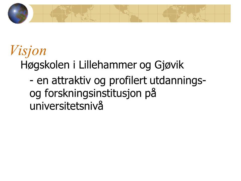 Visjon Høgskolen i Lillehammer og Gjøvik - en attraktiv og profilert utdannings- og forskningsinstitusjon på universitetsnivå