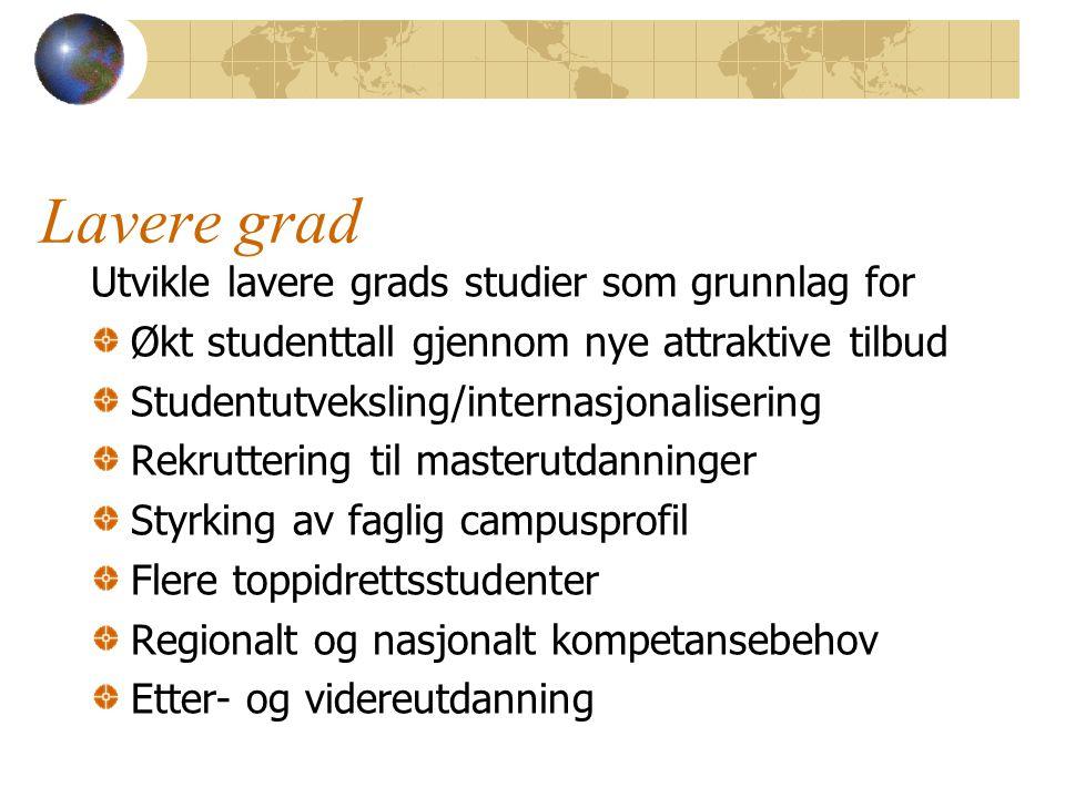 Lavere grad Utvikle lavere grads studier som grunnlag for Økt studenttall gjennom nye attraktive tilbud Studentutveksling/internasjonalisering Rekrutt