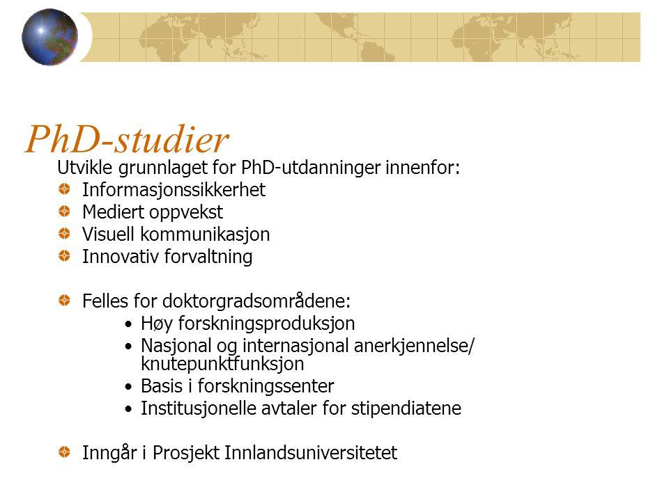 PhD-studier Utvikle grunnlaget for PhD-utdanninger innenfor: Informasjonssikkerhet Mediert oppvekst Visuell kommunikasjon Innovativ forvaltning Felles
