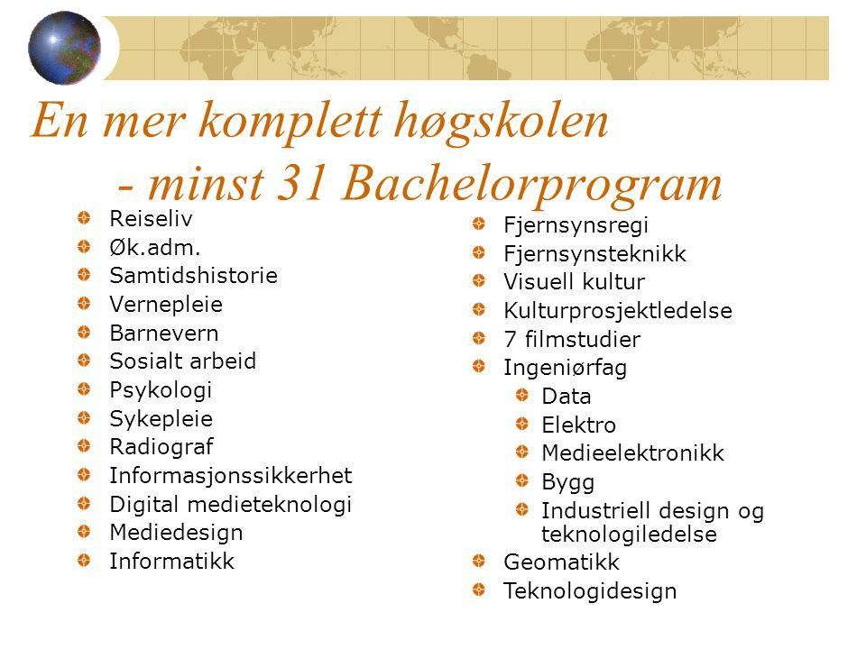 En mer komplett høgskolen - minst 31 Bachelorprogram Reiseliv Øk.adm. Samtidshistorie Vernepleie Barnevern Sosialt arbeid Psykologi Sykepleie Radiogra