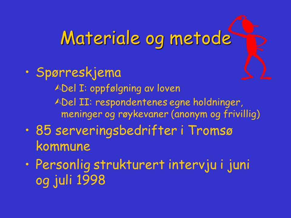 Student Aina Emaus Tromsø kommune, Reidar Høifødt UiTø, Maja- Lisa Løchen Røyking på restauranter og andre serveringssteder i Tromsø kommune juni/ juli 1998 Røyking på restauranter og andre serveringssteder i Tromsø kommune juni/ juli 1998