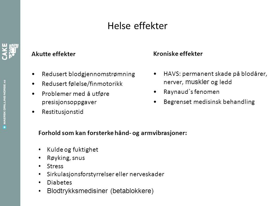 Helse effekter Akutte effekter Redusert blodgjennomstrømning Redusert følelse/finmotorikk Problemer med å utføre presisjonsoppgaver Restitusjonstid Kr