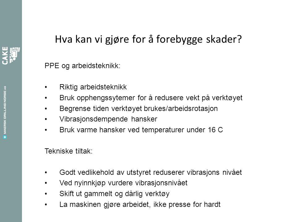 Hva kan vi gjøre for å forebygge skader? PPE og arbeidsteknikk: Riktig arbeidsteknikk Bruk opphengssytemer for å redusere vekt på verktøyet Begrense t