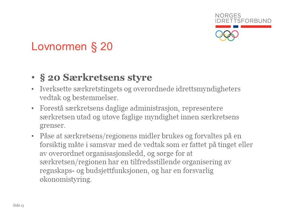 Side 13 § 20 Særkretsens styre Iverksette særkretstingets og overordnede idrettsmyndigheters vedtak og bestemmelser. Forestå særkretsens daglige admin