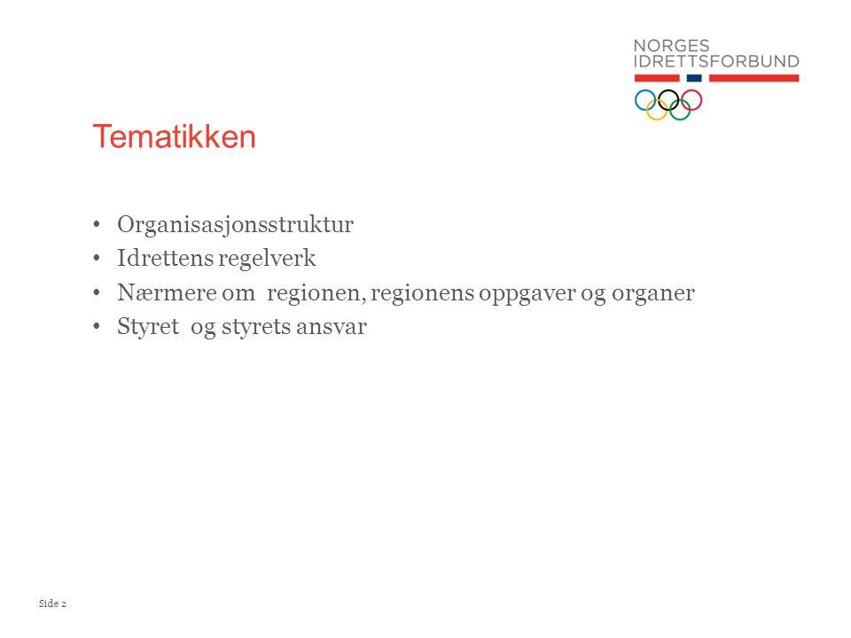 Side 2 Organisasjonsstruktur Idrettens regelverk Nærmere om regionen, regionens oppgaver og organer Styret og styrets ansvar Tematikken