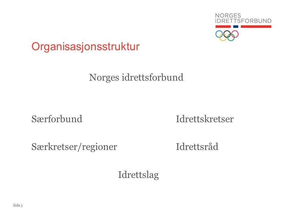 Side 3 Norges idrettsforbund SærforbundIdrettskretser Særkretser/regionerIdrettsråd Idrettslag Organisasjonsstruktur