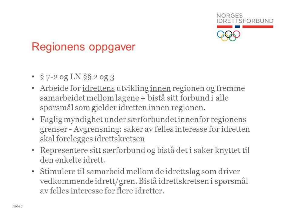 Side 7 § 7-2 og LN §§ 2 og 3 Arbeide for idrettens utvikling innen regionen og fremme samarbeidet mellom lagene + bistå sitt forbund i alle spørsmål som gjelder idretten innen regionen.
