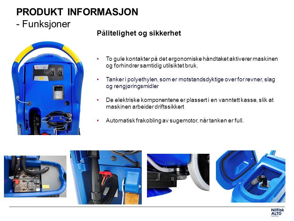 PRODUKT INFORMASJON - Funksjoner Pålitelighet og sikkerhet To gule kontakter på det ergonomiske håndtaket aktiverer maskinen og forhindrer samtidig utilsiktet bruk.