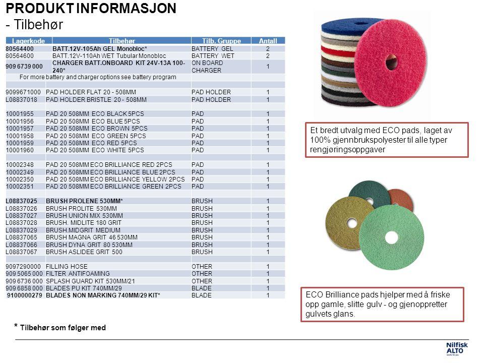 PRODUKT INFORMASJON - Spesifikasjoner TEKNISKE SPESIFIKASJONER 9087333020 SCRUBTEC 453 B RENTVANDSTANK (L)40 SNAVSEVANDSTANK (L)45 SPÆNDING (V)24 BØRSTE/RONDEL DIAMETER (MM)530/508 BESKYTTELSESKLASSE / IP PROTBESKYTTELSEIPX4 BØRSTEMOTOR EFFEKT (W)330 SUGEMOTOR EFFEKT (W)480 LYDTRYKSNIVEAU VED 1.5 M (DB(A)ISO 3744)68 VIBRATONSNIVEAU HÅNDTAG M/S2<2.5 BØRSTETRYK MOD GULV (KG)30 BØRSTEMOTOR, HASTIGHED (O./MIN)154 DIMENSIONER L X B X H (MM)1180x760x1060 NETTO VÆGT (KG)76 VÆGT, KØREKLAR (KG)190 MAX STIGNING VED TRANSPORT %2% BATTERI-RUM STØRRELSE (BXLXH) (MM)350 x 350 x 300