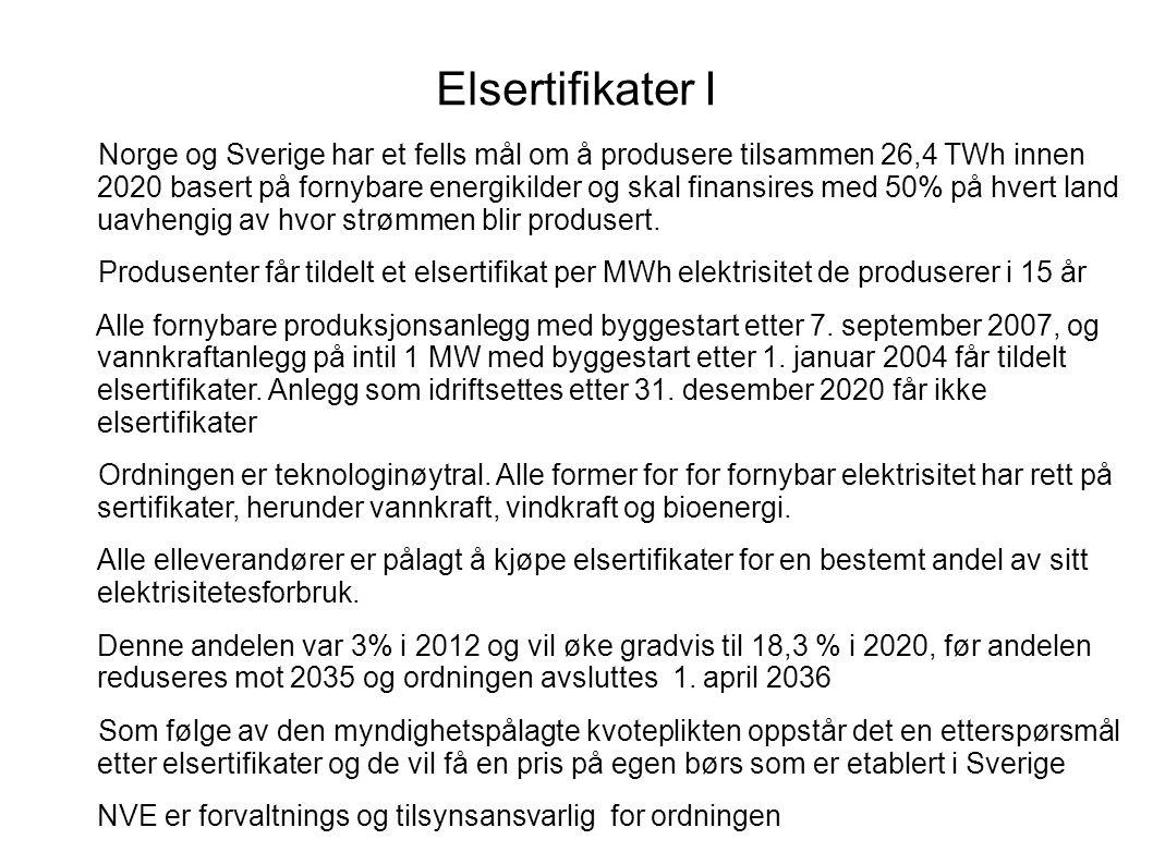 Elsertifikater I Norge og Sverige har et fells mål om å produsere tilsammen 26,4 TWh innen 2020 basert på fornybare energikilder og skal finansires med 50% på hvert land uavhengig av hvor strømmen blir produsert.