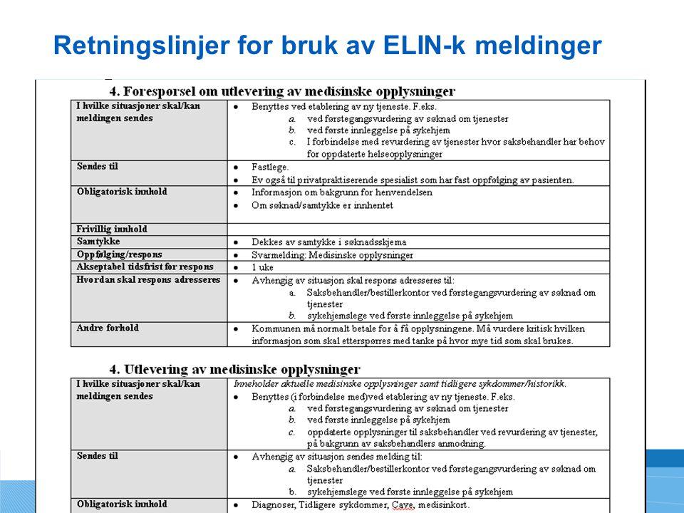 Retningslinjer for bruk av ELIN-k meldinger
