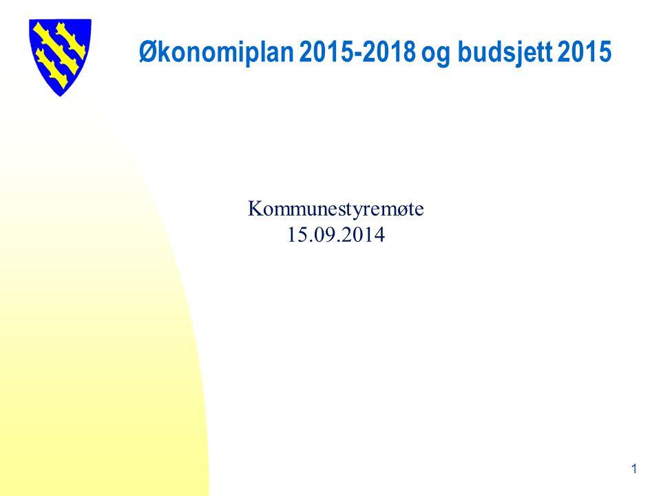 Økonomiplan 2015-2018 og budsjett 2015 Kommunestyremøte 15.09.2014 1