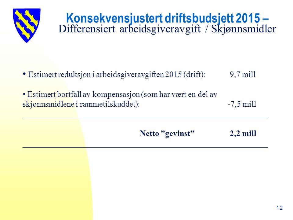 Konsekvensjustert driftsbudsjett 2015 – Differensiert arbeidsgiveravgift / Skjønnsmidler 12 Estimert reduksjon i arbeidsgiveravgiften 2015 (drift): 9,7 mill Estimert bortfall av kompensasjon (som har vært en del av skjønnsmidlene i rammetilskuddet):-7,5 mill ____________________________________________________________ Netto gevinst 2,2 mill ____________________________________________________________