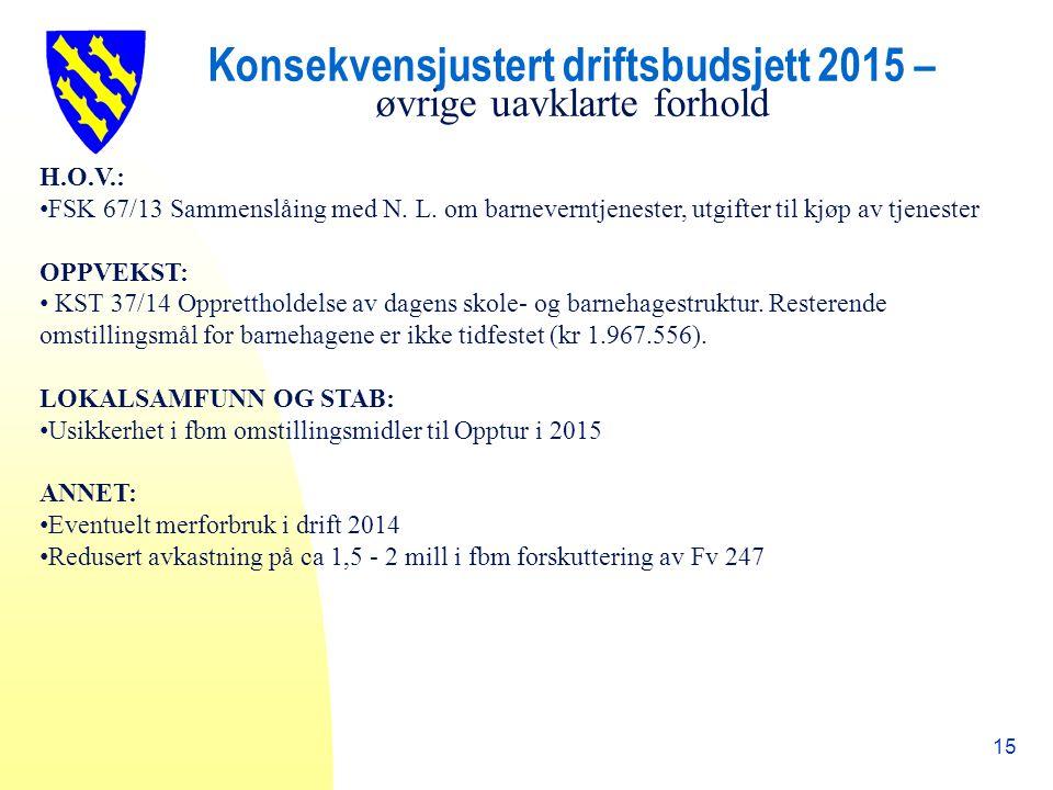Konsekvensjustert driftsbudsjett 2015 – øvrige uavklarte forhold 15 H.O.V.: FSK 67/13 Sammenslåing med N.