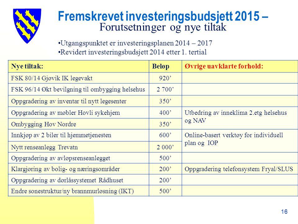 Fremskrevet investeringsbudsjett 2015 – Forutsetninger og nye tiltak 16 Utgangspunktet er investeringsplanen 2014 – 2017 Revidert investeringsbudsjett 2014 etter 1.