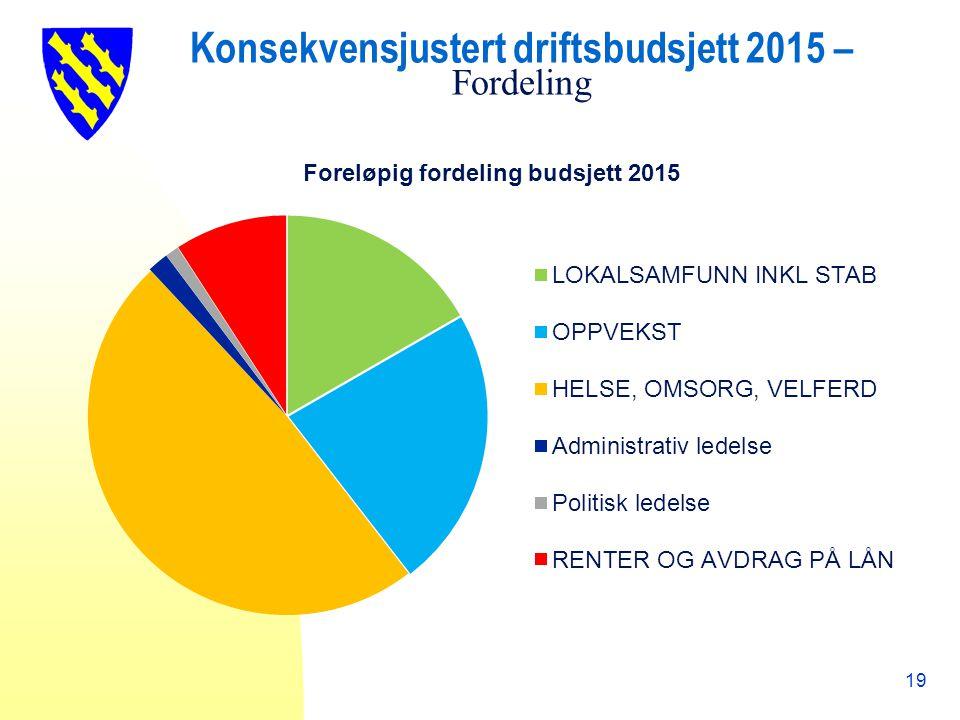Konsekvensjustert driftsbudsjett 2015 – Fordeling 19