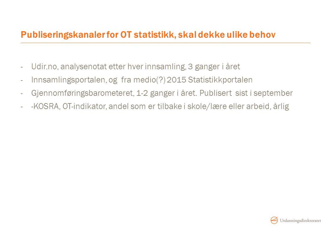 Publiseringskanaler for OT statistikk, skal dekke ulike behov -Udir.no, analysenotat etter hver innsamling, 3 ganger i året -Innsamlingsportalen, og f