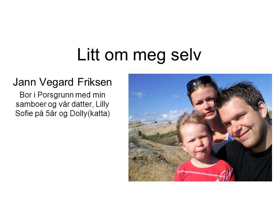 Litt om meg selv Jann Vegard Friksen Bor i Porsgrunn med min samboer og vår datter, Lilly Sofie på 5år og Dolly(katta)
