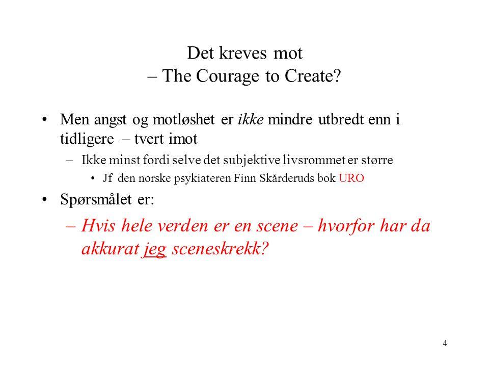 4 Det kreves mot – The Courage to Create? Men angst og motløshet er ikke mindre utbredt enn i tidligere – tvert imot –Ikke minst fordi selve det subje
