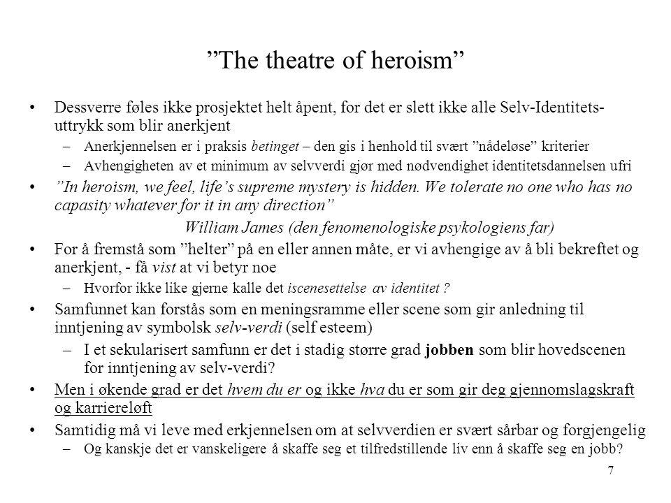 """7 """"The theatre of heroism"""" Dessverre føles ikke prosjektet helt åpent, for det er slett ikke alle Selv-Identitets- uttrykk som blir anerkjent –Anerkje"""