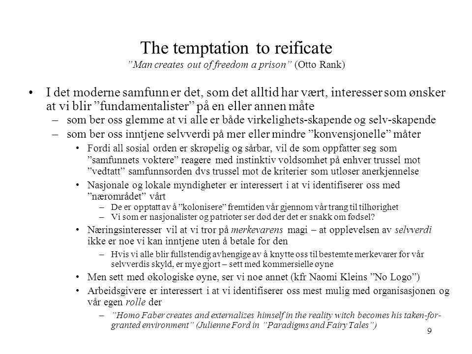 """9 The temptation to reificate """"Man creates out of freedom a prison"""" (Otto Rank) I det moderne samfunn er det, som det alltid har vært, interesser som"""