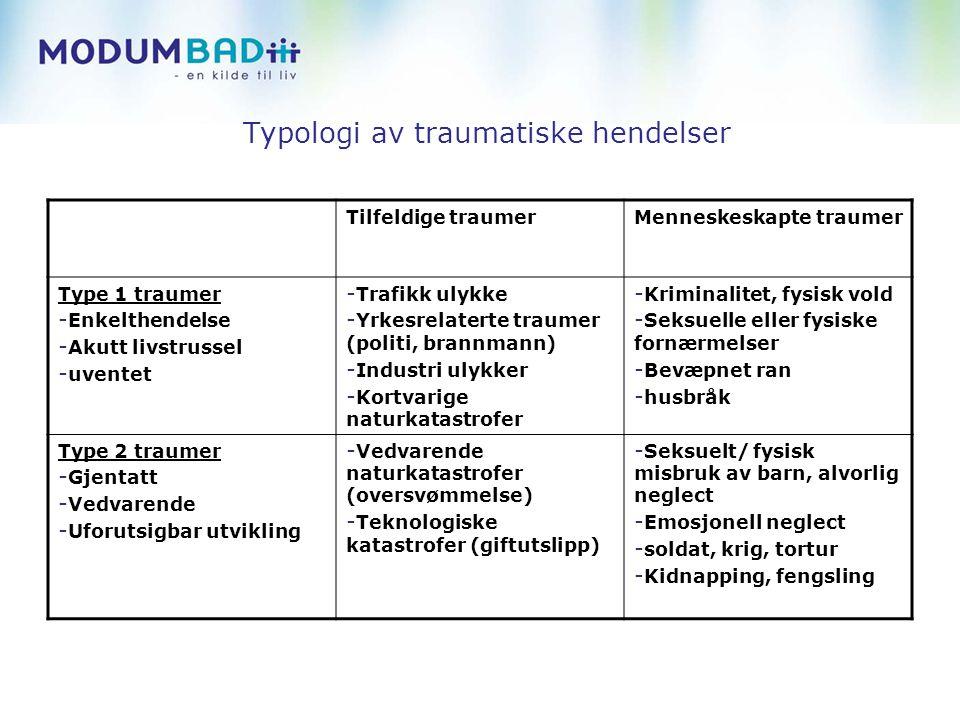 Typologi av traumatiske hendelser Tilfeldige traumerMenneskeskapte traumer Type 1 traumer - Enkelthendelse - Akutt livstrussel - uventet - Trafikk uly
