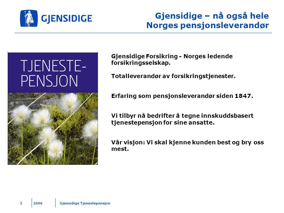 2006 Gjensidige Tjenestepensjon3 Gjensidige – nå også hele Norges pensjonsleverandør Gjensidige Forsikring - Norges ledende forsikringsselskap. Totall