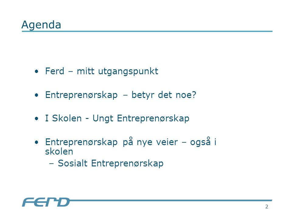 2 Agenda Ferd – mitt utgangspunkt Entreprenørskap – betyr det noe.