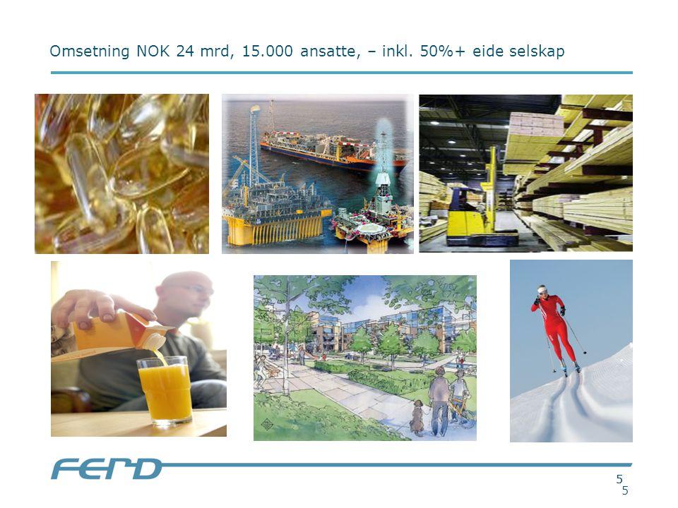 55 5 Omsetning NOK 24 mrd, 15.000 ansatte, – inkl. 50%+ eide selskap