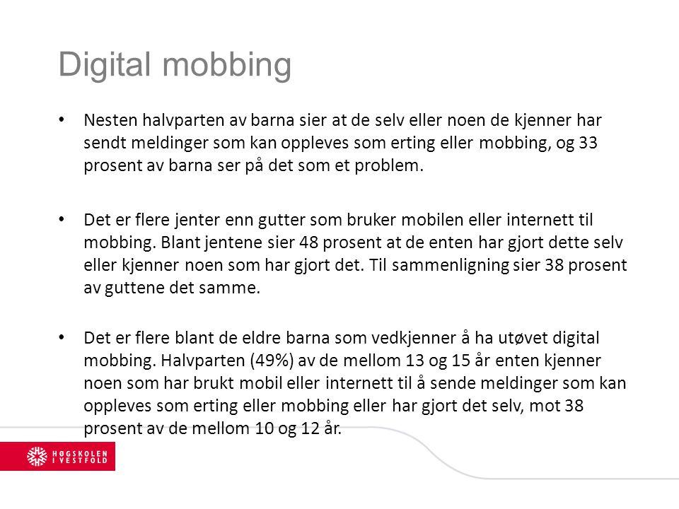 Digital mobbing Nesten halvparten av barna sier at de selv eller noen de kjenner har sendt meldinger som kan oppleves som erting eller mobbing, og 33