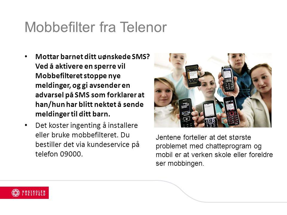 Mobbefilter fra Telenor Mottar barnet ditt uønskede SMS? Ved å aktivere en sperre vil Mobbefilteret stoppe nye meldinger, og gi avsender en advarsel p