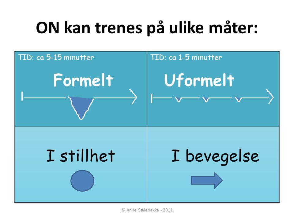 ON kan trenes på ulike måter: © Anne Sælebakke - 2011