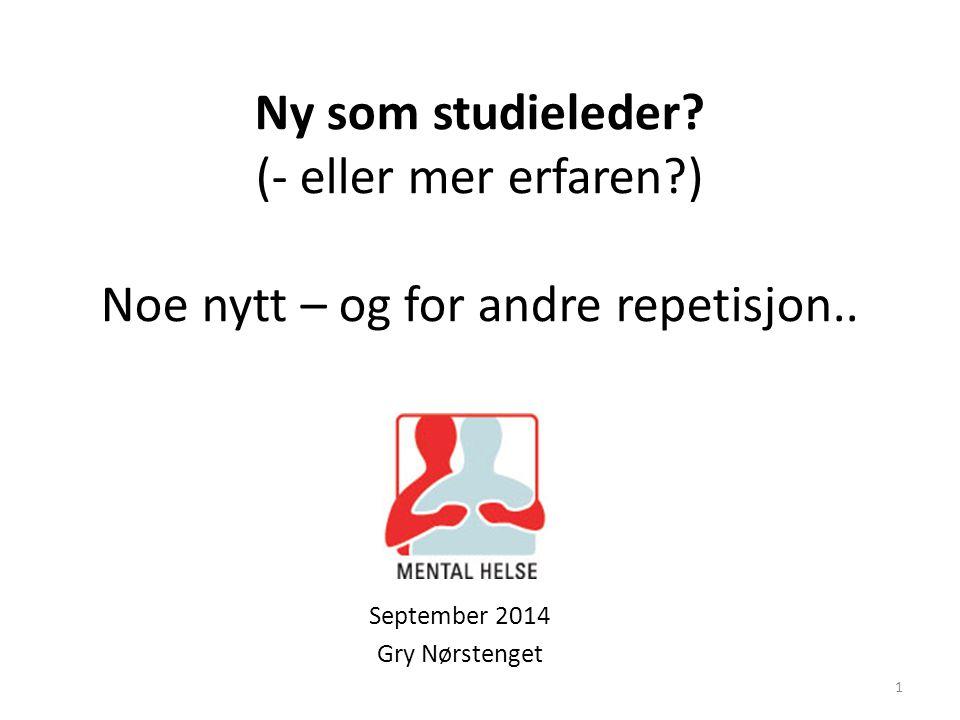 Ny som studieleder? (- eller mer erfaren?) Noe nytt – og for andre repetisjon.. September 2014 Gry Nørstenget 1